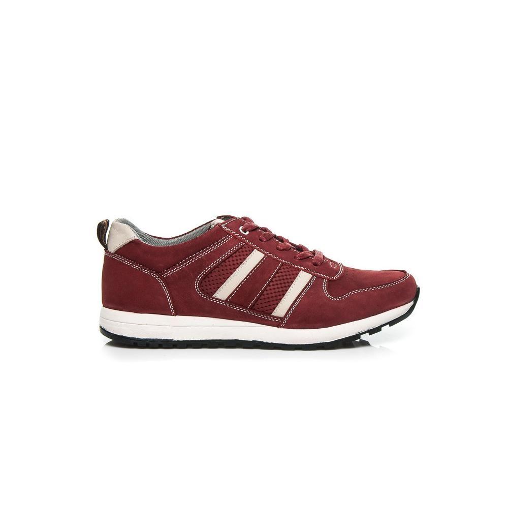 Мъжки спортни обувки от естествена кожа червени Mazaro - Полша