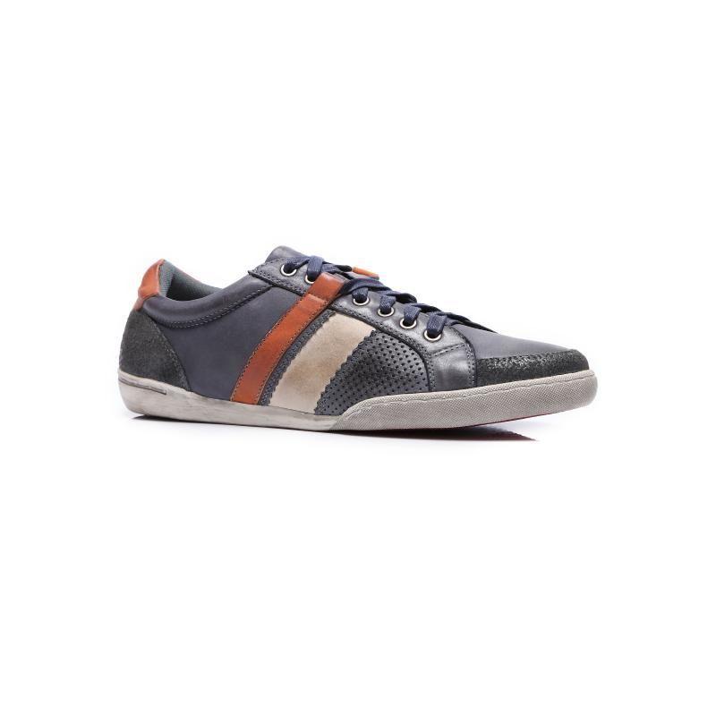 Мъжки спортни обувки от естествена кожа сиви Mazaro - Полша
