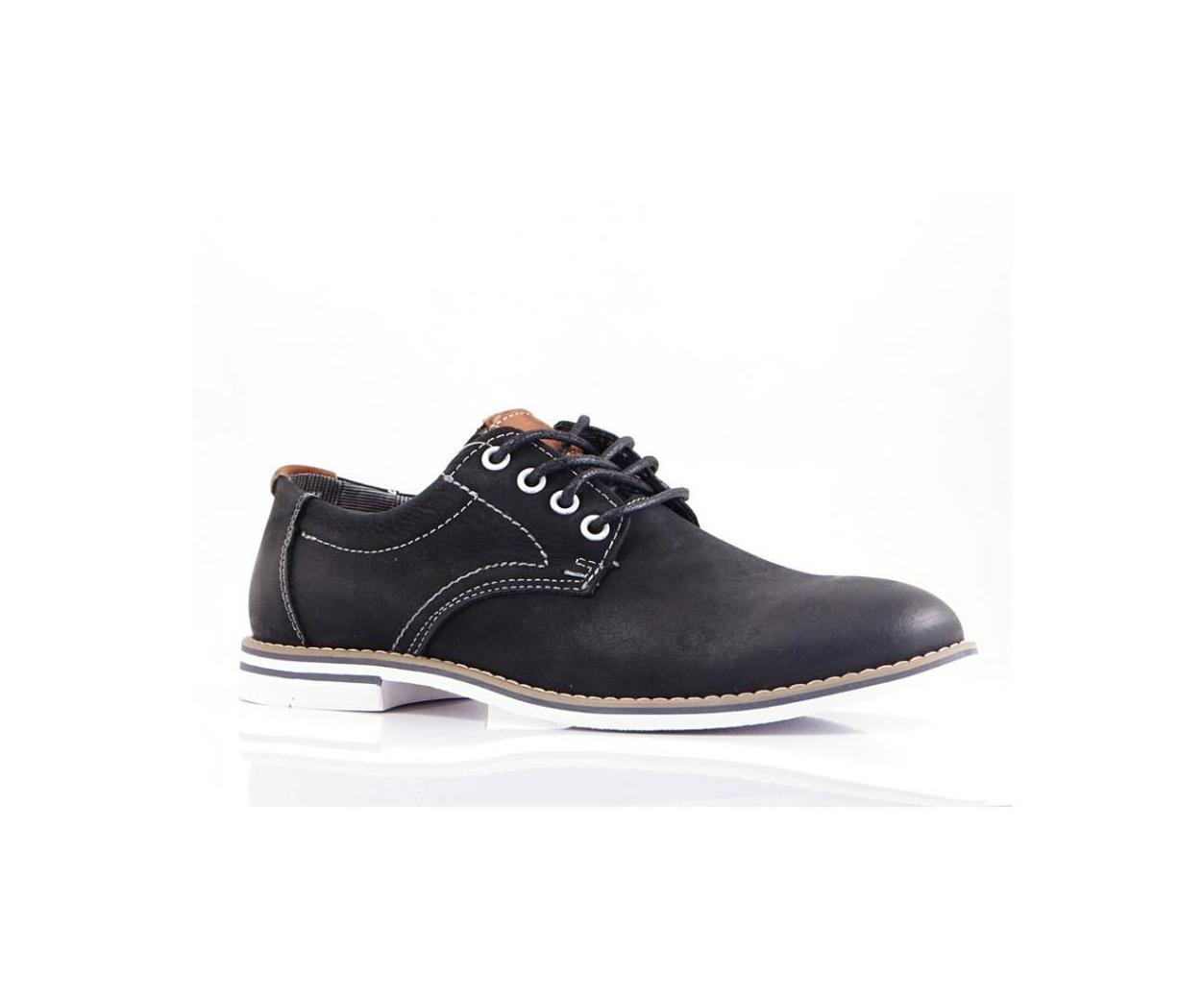 Мъжки спортно-елегантни обувки от естествена кожа черни Mazaro - Полша